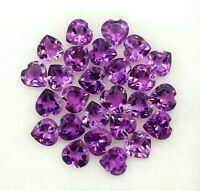 NATURAL PURPLE AMETHYST 4X4 MM HEART CUT FACETED LOOSE AAA GEMSTONE LOT