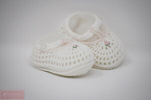 Petit Ami White and Pink Baby Girls Crocheted 0/3 Months Booties FREE GIFT WRAP!