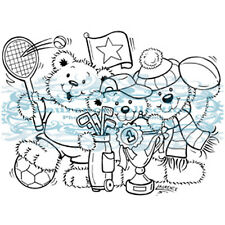 New Stampavie SPORTY HEROES Clear Stamp Bears Sports Tennis Fun Friends