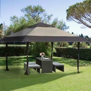 Outsunny 13' x 13' Outdoor Pop Up Canopy Tent Gazebo Adjustable Legs Bag Khaki