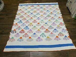 "Vintage Hand Stitched Patchwork Quilt Fan Pattern 72"" x 80"" Multi Color Blanket"