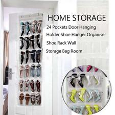 Over The Door Shoe Organizer 24 Pockets Gray Hooks Adjustable Storage Holder New