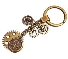 BRONZE STEAMPUNK KEY RING chain clock gears cogs mechanics industrial 4G