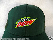 Mtn Mountain Dew TRUCKER HAT Gear Mesh Back Adjustable GREEN Old School
