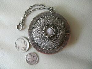 Antique Fleur De Lis Châtelaine STERLING SILVER Round Mesh Coin Purse 1890s