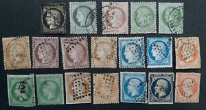 RARE 1849- France lot of 19 Ceres & Napoleon III Postage stamps Used