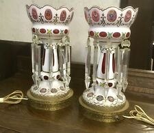 ANTIQUE PAIR OF LUSTRE LAMPS, WITH PRISMS