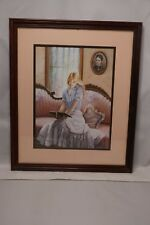 Vintage 1984 Picture With Girl on Sofa - 18.5 x 15.5