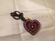 COACH GLITTER HEART APPLIQUE BAG CHARM KEY FOB NWT 27659 LAVENDER PURPLE