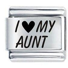 I LOVE MY AUNT  - Daisy Charms by JSC Fits Classic Size Italian Charm Bracelet