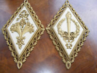 2 Vintage Home Interiors HOMCO Plaques Pictures Fruit