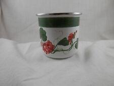 "The Golden Rabbit II Jean Wilkes Enamel cup Geraniums  3"" enamelware"