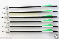 6Pcs Crossbow Arrows Bolts + 6Pcs 3-Blade Sharp Broadhead Outdoor Bow Hunting