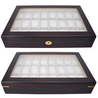 24 Watch Display Case Ebony Wood Mens Glass Top Organizer Collector Jewelry Box