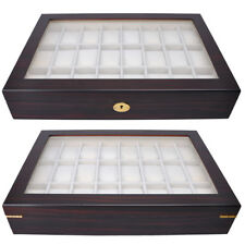 24 Watch Display Case Ebony Wood Mens Glass Top Organizer Collector Jewelry Box