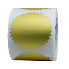 """2"""" Gold Certificate Wafer Seals Labels Embossing Stickers Roll of 250 - Sale"""