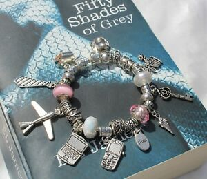 50 'Fifty Shades of Grey' Inspired European Style Bracelet with Charms