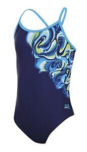 Zoggs Junior Girls Tie Marbling Sprintback Swimsuit Ages 6 - 8 Years