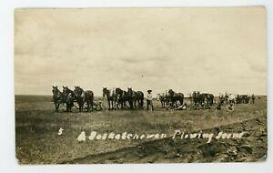RPPC Real photo postcard Saskatchewan plowing scene   Farming agriculture