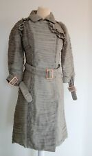 BURBERRY Gray Ruffle Silk Pleated Belted Trench Coat Jacket 3/4 Sleeves Size 42