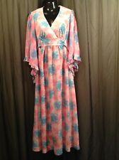 Vtg 60s 70s Chiffon Sheer Pink & Blue Flora Hostess Goddess Maxi Floaty Dress 14