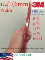 "3M VHB #5952 1/4"" x 15/21/36/108 ft Double-sided Acrylic Foam Tape Automotive."