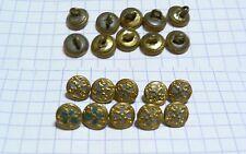 lot 10 mini boutons anciens métal doré &vert 8mm poupée buttons knopfe doll tiny