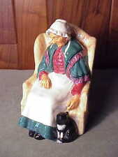 RETIRED ENGLISH PORCELAIN ROYAL DOULTON - FORTY WINKS  HN 1974 - OLD LADY W CAT