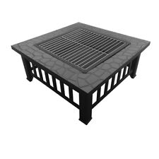 Outdoor Fire Pit BBQ Table Grill Steel Fireplace Stone Pattern Heater Patio