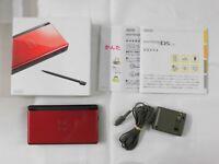 U1803 Nintendo DS Lite console Crimson Black Japan NDS w/box stylus pen charger