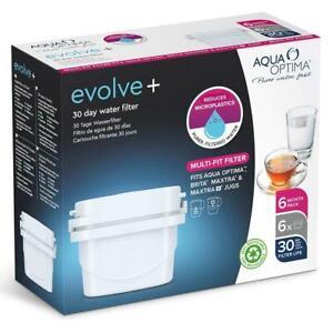 6 x Aqua Optima Evolve+ 30 Day Water Filter Cartridge Refill, fits Brita Maxtra+