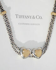 Tiffany & Co 18K 18ct Gold Sterling Silver Double Hearts on Rope Necklace