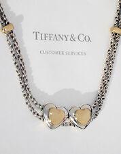Tiffany & Co 18Ct Oro Amarillo Plata de Ley Corazones Dobles en Cuerda Collar