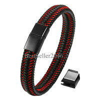 Men Black Red Braided Leather Stainless Steel Magnetic Clasp Bracelet Adjustable