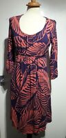 Boden Pink Purple Leaf Print Jersey Dress Size 12 UK 3/4 Sleeve Stretch