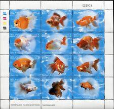 LAOS STAMP 2002 GOLDFISH FISHES FAUNA SET FULL SHEET PERF. MNH