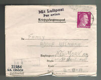 1944 Germany US Soldier POW Camp Letter Cover Stalag 8B to NYC Oskar Heumann Air