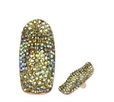 "2"" Long Green AB Rhinestone Stretch Ring"