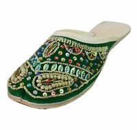 Women Slippers Clogs Indian Handmade Stylish Green Jutties UK 6.5 EU 40