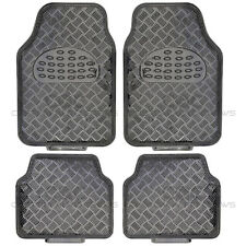 Black Carbon Metallic Rubber Floor Mats Set 4pc Car Interior Auto Accessories