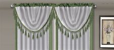 AMY 1PC Sage Green  White Faux Silk Rod Pocket Swag Waterfall Dressing Valance
