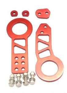 Aluminium Red Tow Hooks - Fronts & Rear - Fits Nissa, Toyota, Subaru, Honda etc