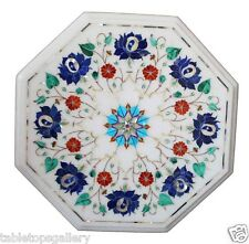 """14""""x14"""" White Marble Coffee Side Table Top Lapis Inlay Marquetry Art Decor H1467"""