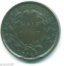 STRAITS SETTLEMENTS EAST INDIA COMPANY HALF CENT 1845 MONETA ARGENTO
