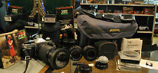 Canon AE-1 Program Camera +3 Lenses (1 Zoom) + Electronic Flash+ 6 Filters +Case