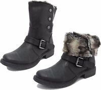 Womens Ladies Cats Eyes Fold Down Leather Look Fur Lined Biker Ankle Boots BLACK
