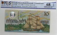 1988 Australian $10 Note Johnston/Fraser Superb Gem Unc 68 OPQ PCGS AB 34985460