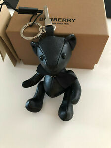 Burberry Thomas the Bear black grainy leather suede trim bag Charm key ring CUTE