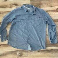Columbia Men's size XL Gray Polyester L/S Button Vented Fishing Omni Shade Shirt