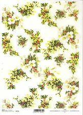 Rice Paper for Decoupage Scrapbooking Christmas Flowers Holly A4 ITD R776